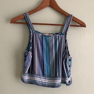 Band of Gypsies Crop Top Blue Stripes Small